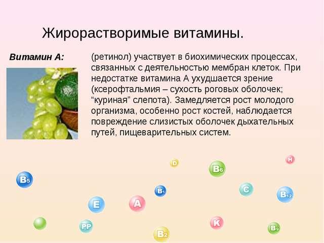Жирорастворимые витамины. Витамин А: (ретинол) участвует в биохимических проц...