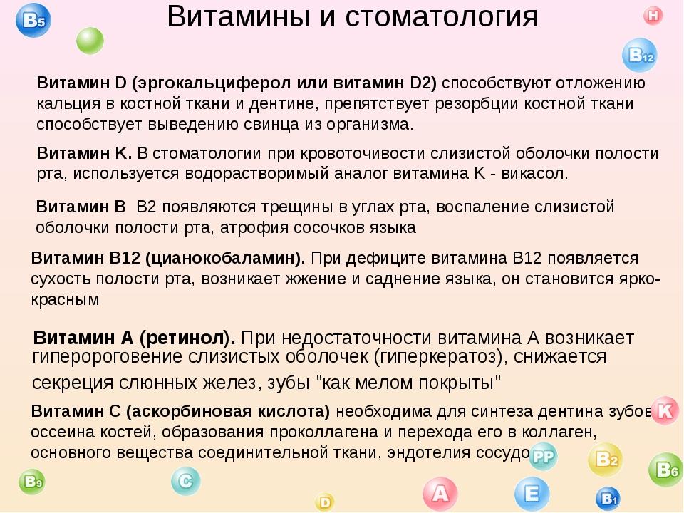 Витамины и стоматология Витамин A (ретинол). При недостаточности витамина A...