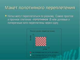 Макет полотняного переплетения Нитки могут переплетаться по разному. Самое пр