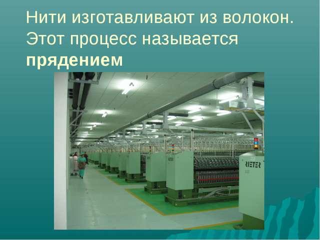 Нити изготавливают из волокон. Этот процесс называется прядением