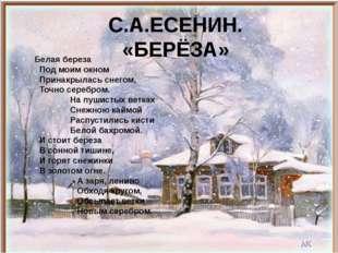 С.А.ЕСЕНИН. «БЕРЁЗА» Белая береза Под моим окном Принакрылась снегом, Точно