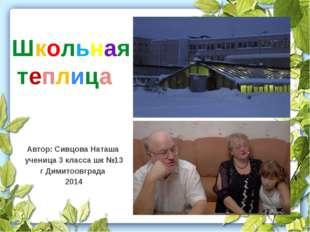 Автор: Сивцова Наташа ученица 3 класса шк №13 г Димитоовграда 2014 Школьная т