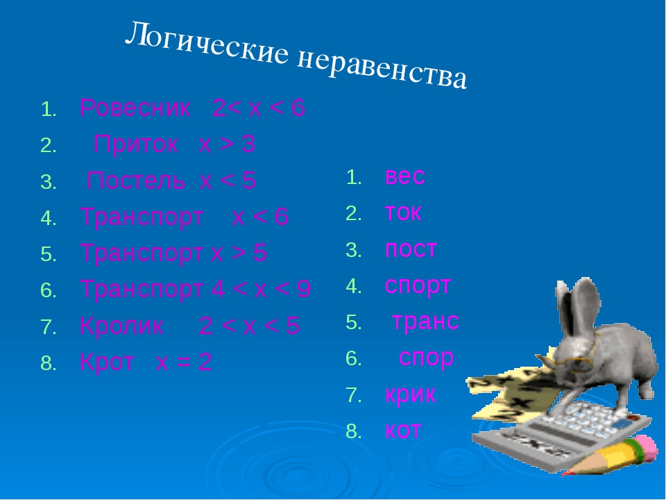Ровесник 2< x < 6 Приток x > 3 Постель x < 5 Транспорт x < 6 Транспорт x > 5...