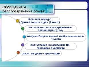 Обобщение и распространение опыта: выступления на заседаниях ЦК, семинарах в
