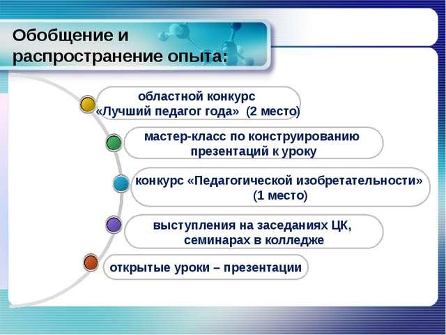 Обобщение и распространение опыта: выступления на заседаниях ЦК, семинарах в...