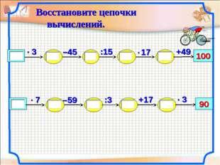 –59 100 +49 :15 –45 +17 90 :3 Восстановите цепочки вычислений. Бакреу Наталия