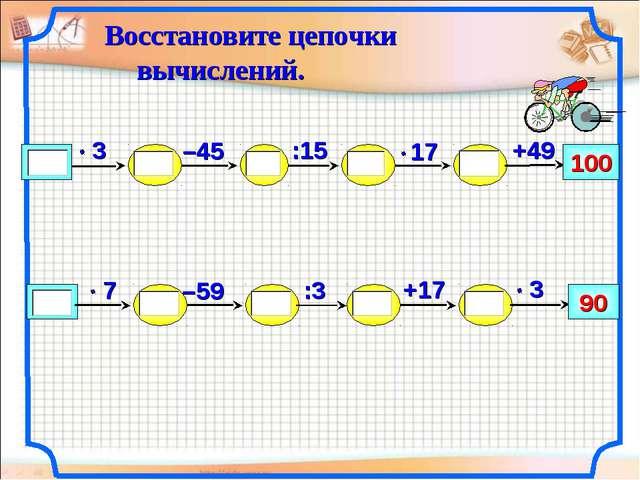 –59 100 +49 :15 –45 +17 90 :3 Восстановите цепочки вычислений. Бакреу Наталия...