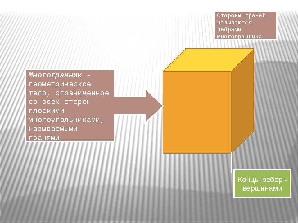 Стороны граней называются ребрами многогранника Многогранник - геометрическо...