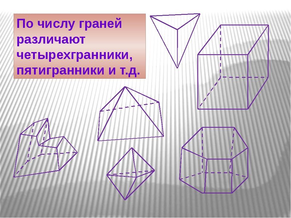 По числу граней различают четырехгранники, пятигранники и т.д.