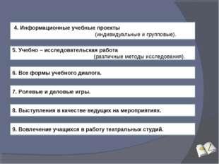 4. Информационные учебные проекты (индивидуальные и групповые). 5. Учебно –