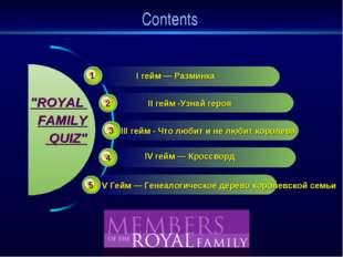 """Contents III гейм - Что любит и не любит королева """"ROYAL FAMILY QUIZ"""" 1 2 3 4"""