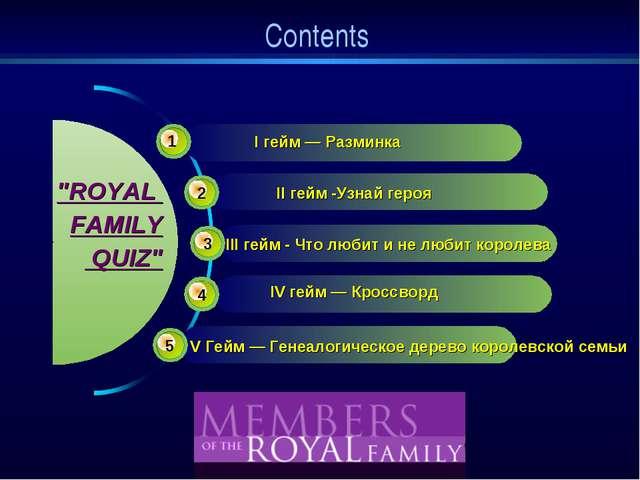 """Contents III гейм - Что любит и не любит королева """"ROYAL FAMILY QUIZ"""" 1 2 3 4..."""