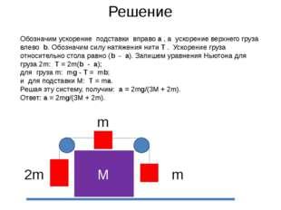 Решение М m 2m m Обозначим ускорение подставки вправо а , а ускорение верхнег
