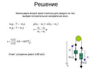 Решение Записываем второй закон Ньютона для каждого из тел, выбрав положитель