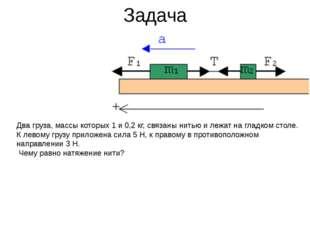 Задача Два груза, массы которых 1 и 0,2 кг, связаны нитью и лежат на гладком