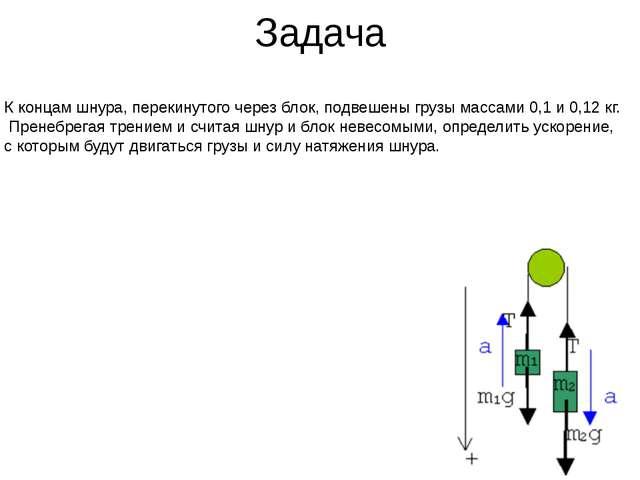 Задача К концам шнура, перекинутого через блок, подвешены грузы массами 0,1 и...