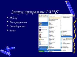 Запуск программы PAINT ПУСК Все программы Стандартные Paint