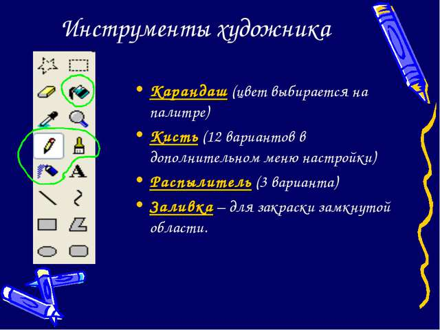 Инструменты художника Карандаш (цвет выбирается на палитре) Кисть (12 вариант...