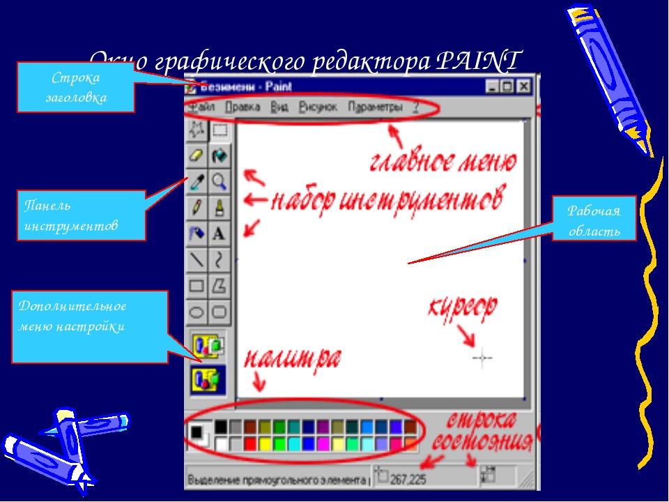 Окно графического редактора PAINT Рабочая область Строка заголовка Панель инс...