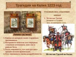 1. Князья не доверяли своим старинным противникам. 2. Восприняли монголов ка