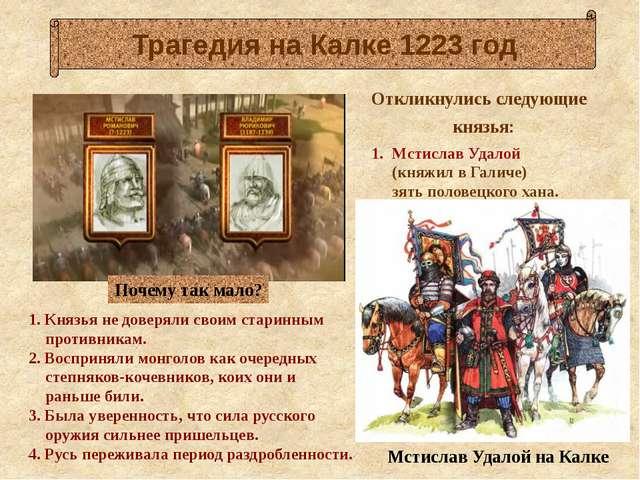 1. Князья не доверяли своим старинным противникам. 2. Восприняли монголов ка...