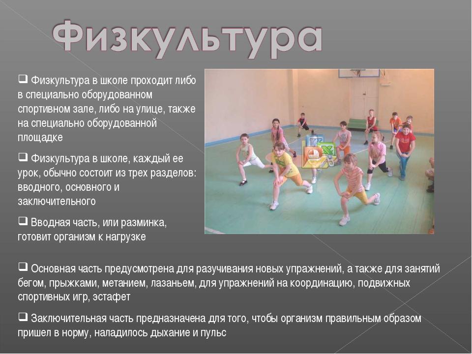 Физкультура в школе проходит либо в специально оборудованном спортивном зале...