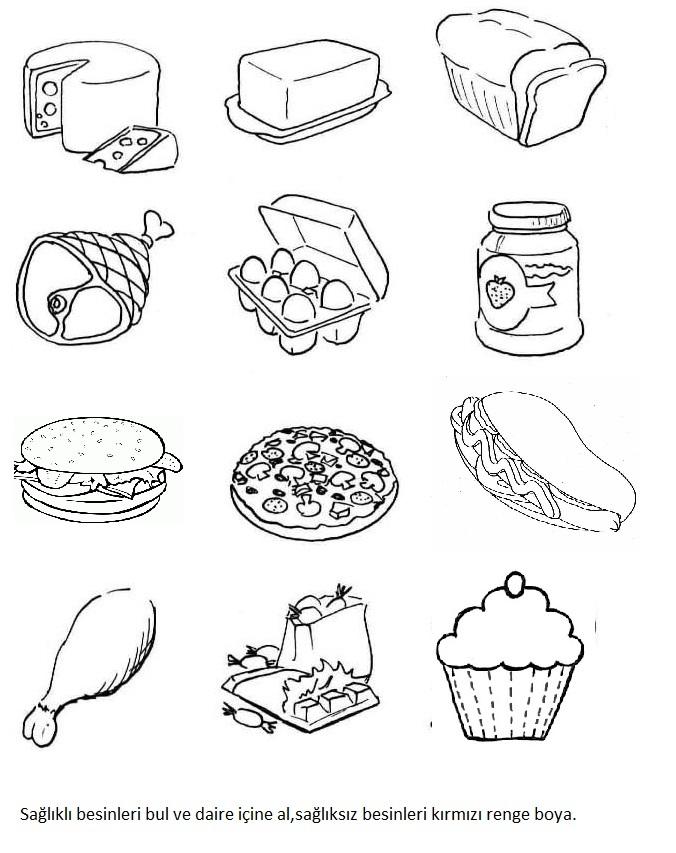 Картинки продуктов для раскраски