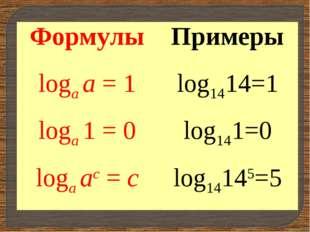 ФормулыПримеры logа а = 1log1414=1 logа 1 = 0log141=0 logа ас = сlog14145=5