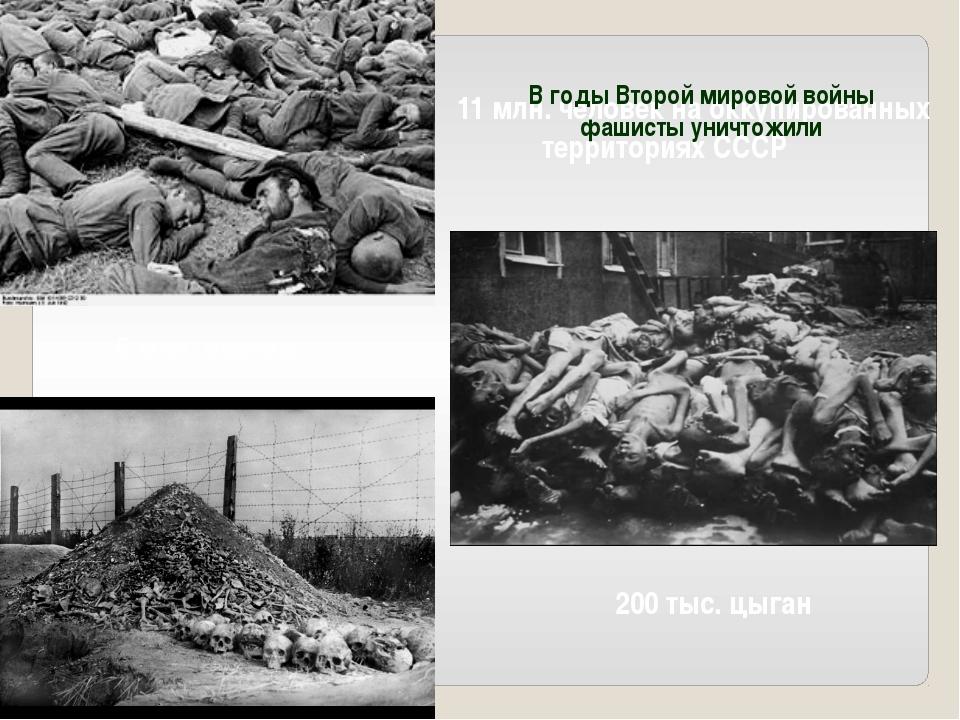 11 млн. человек на оккупированных территориях СССР 6 млн. евреев 200 тыс. цыг...
