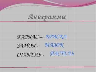Анаграммы КАРКАС – ЗАМОК - СТАПЕЛЬ - ПАСТЕЛЬ КРАСКА МАЗОК