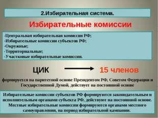 2.Избирательная система. -Центральная избирательная комиссия РФ; -Избирательн