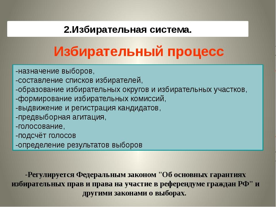 2.Избирательная система. Избирательный процесс -назначение выборов, -составле...