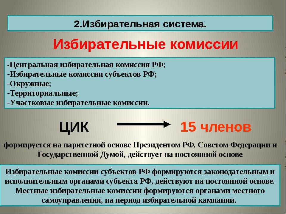 2.Избирательная система. -Центральная избирательная комиссия РФ; -Избирательн...