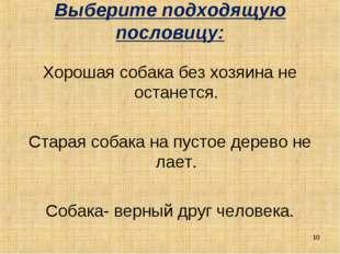 Выберите подходящую пословицу: Хорошая собака без хозяина не останется. Стара