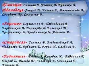 «Умница»-Литман В, Усачик А, Куличко К. «Молодец»-Гапцов Д, Ильина Д, Джумали
