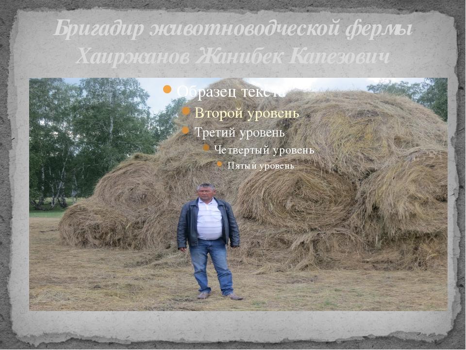 Бригадир животноводческой фермы Хаиржанов Жанибек Капезович