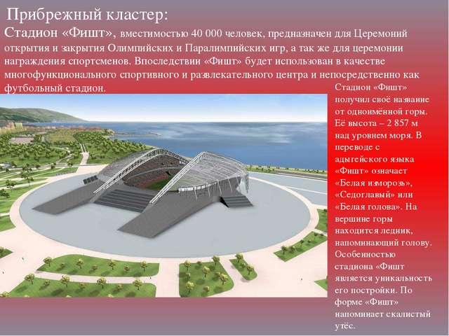Прибрежный кластер: Стадион «Фишт», вместимостью 40000 человек, предназначен...