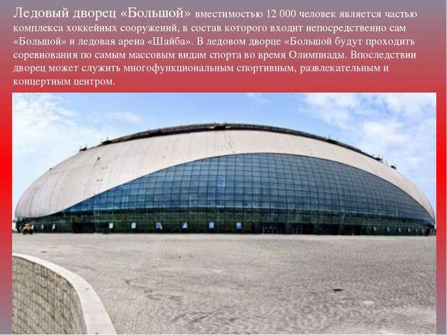 Ледовый дворец «Большой» вместимостью 12000 человек является частью комплекс...