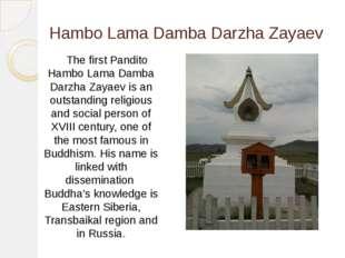 Hambo Lama Damba Darzha Zayaev The first Pandito Hambo Lama Damba Darzha Zaya