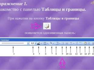 Упражнение 1. Знакомство с панелью Таблицы и границы. При нажатии на кнопку Т