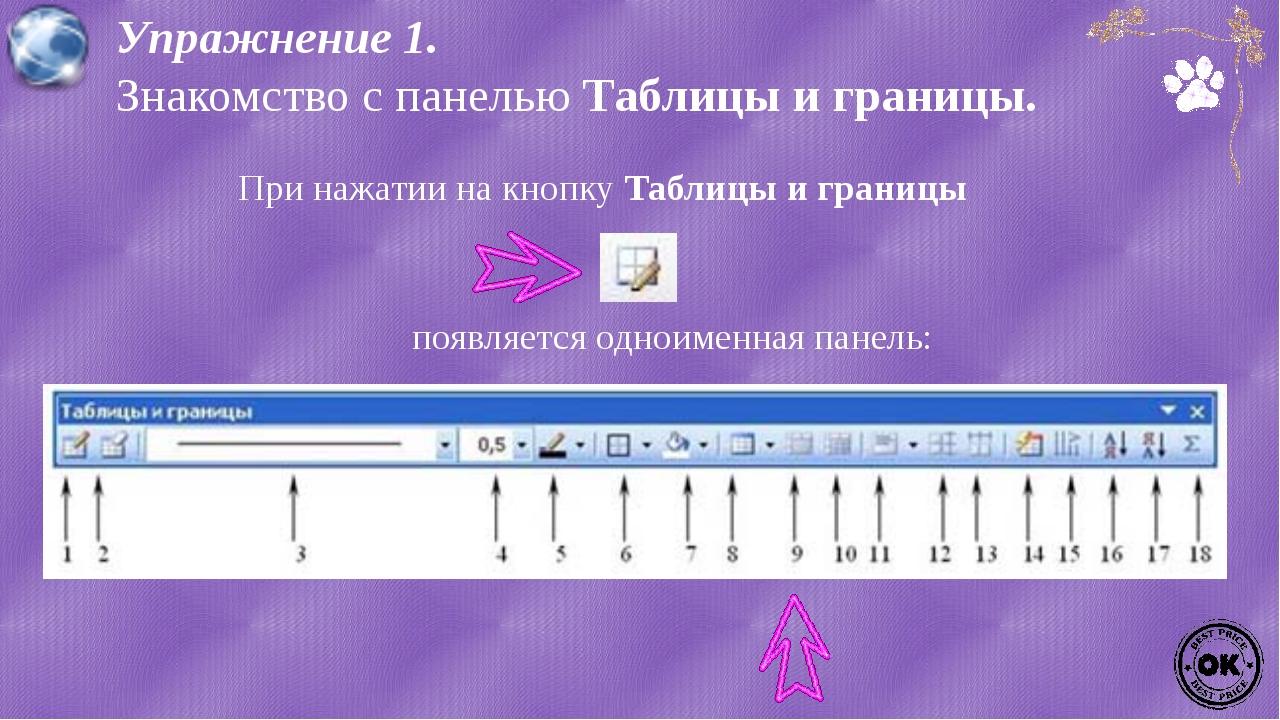 Упражнение 1. Знакомство с панелью Таблицы и границы. При нажатии на кнопку Т...