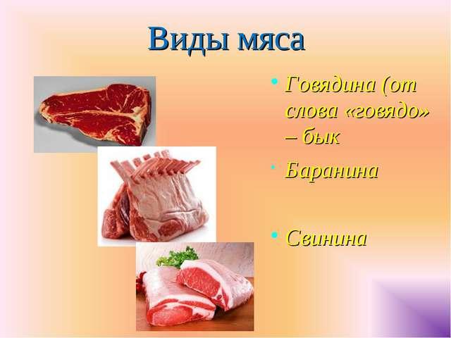 Виды мяса Говядина (от слова «говядо» – бык Баранина Свинина