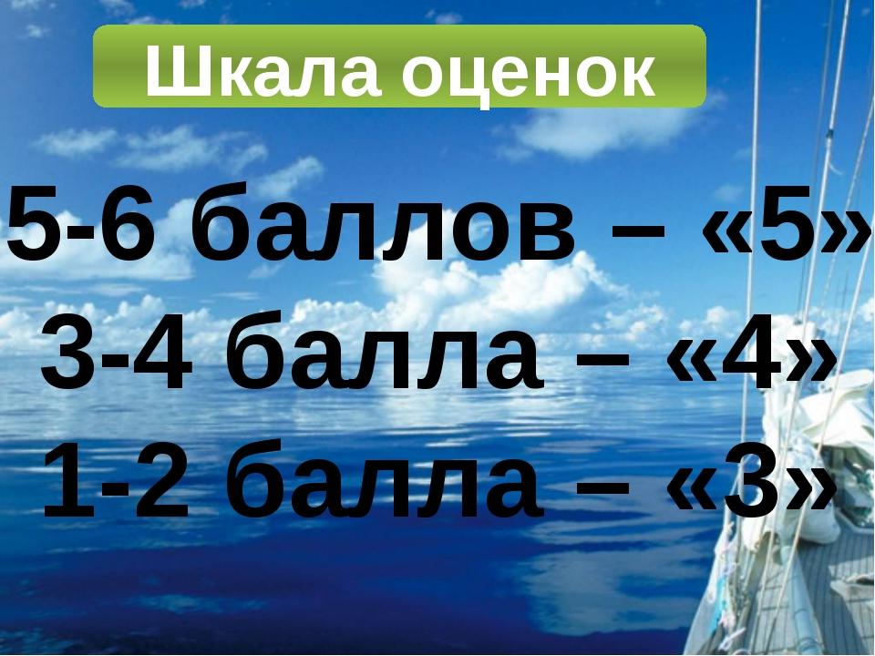 Шкала оценок 5-6 баллов – «5» 3-4 балла – «4» 1-2 балла – «3»