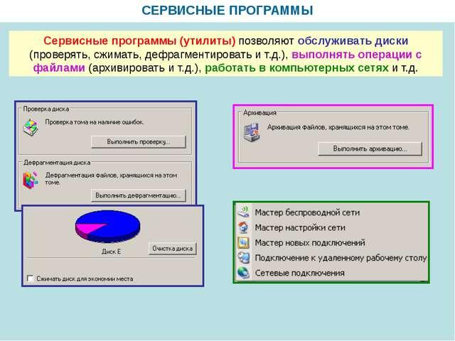 СЕРВИСНЫЕ ПРОГРАММЫ Сервисные программы (утилиты) позволяют обслуживать диск...