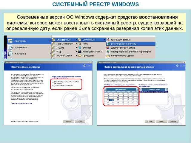 СИСТЕМНЫЙ РЕЕСТР WINDOWS Современные версии ОС Windows содержат средство вос...