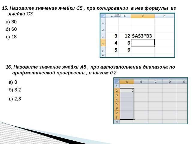 15. Назовите значение ячейки С5 , при копировании в нее формулы из ячейки С3...