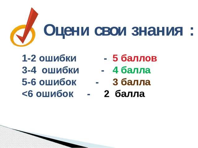 Оцени свои знания : 1-2 ошибки - 5 баллов 3-4 ошибки - 4 балла 5-6 ошибок - 3...