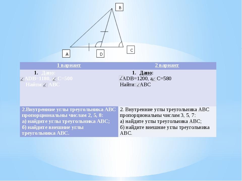 1 вариант 2 вариант Дано: АDВ=1180,а С=500 Найти: АВС Дано: АDВ=1200,а С=580...