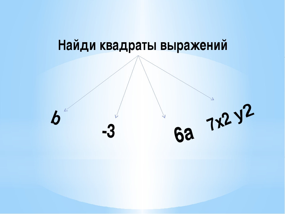 b 6а -3 7х2 у2 Найди квадраты выражений