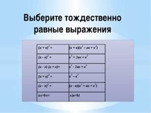 Выберите тождественно равные выражения